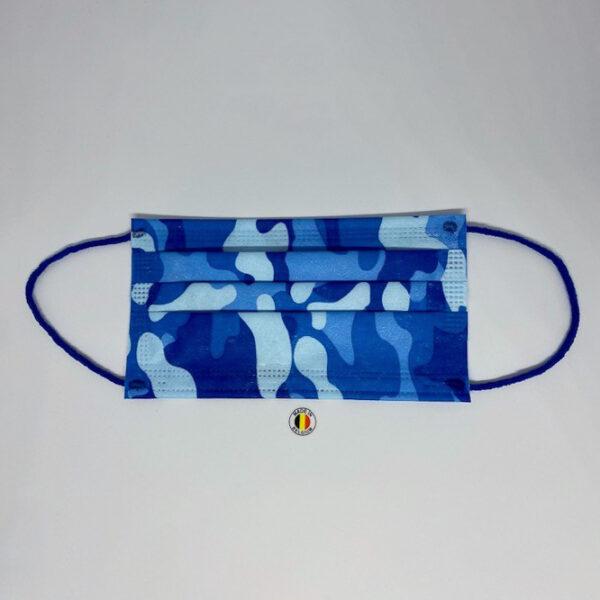 Blauw camouflage chirurgische mondmaskers