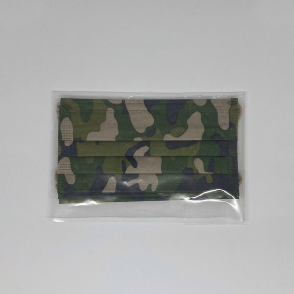 Kaki camouflage chirurgische mondmaskers verpakt